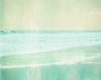 Beach Vintage Art Print - Aqua Soft Pastel Ethereal Bokeh Summer Ocean Beach House Wall Art Home Decor Photograph