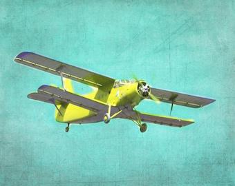 Antique Airplane Art Print Nursery Children Boy Room Aqua