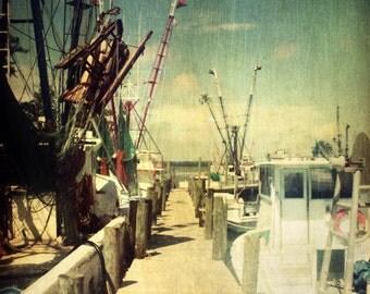 Shrimp Boat Dock Art Print - Vintage Beach House Wall Art Fishing Home Decor Nautical Ocean Trawler Photograph