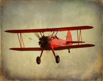 Vintage Airplane Print, Baby Boy Nursery, Toddler Boy Room, Plane Print, Red Bi Plane, Airplane Photo, Antique Plane, Airplane Nursery Art