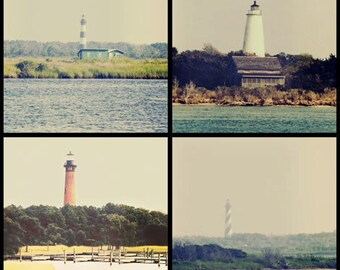 Lighthouses - Outer Banks Set Of 4 8x8 Prints - north carolina beach vintage dreamy nautical ocean art prints