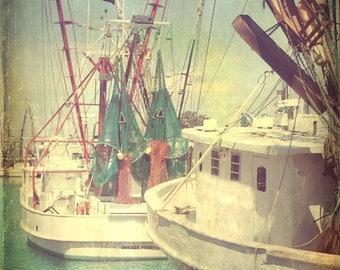 Vintage Shrimp Boat Art Print - Green Red White Aqua Beach House Wall Art Home Decor Photograph