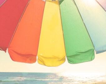 Beach Umbrella Print - Red Yellow Green Blue Rainbow Colorful Summer Ocean Photograph
