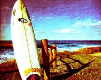 Surfboard Beach Art Print - Blue White Ocean Beach House Home Decor Wall Art Surf Photograph
