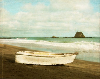 Vintage Beach Boat Art Print - White Blue Aqua Brown Beach House Home Decor Wall Ocean Sea Photograph