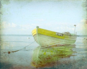 Vintage Yellow Boat Beach Print - Home Decor Wall Art Nautical Beach House Dingy Aqua Ocean Art Photo