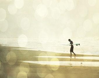 Surf Silhouette Art Print - Beach Bokeh Neutral Beige Yellow Beach House Wall Art Home Decor Surfing Surfer Photography