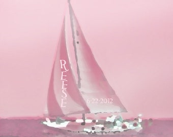 Pink Nautical Sailboat Nursery Art Print -Personalized Name Custom Baby Girl Room Children Beach Boat Photograph