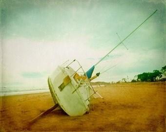 Sailboat Beach Art Print- Vintage Beach Aqua Tan White Nautical Ocean Beach House Home Decor Photograph