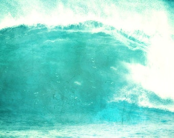 Wave Beach Art Print - Aqua White Abstract Surreal Beach House Wall Art Surfing Home Decor Photograph