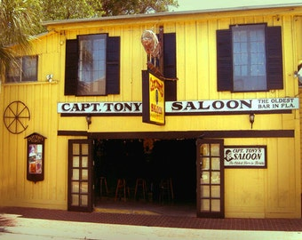 Captain Tonys Key West Florida Art Print - Beach Yellow Black Bar Saloon Wall Art Photograph