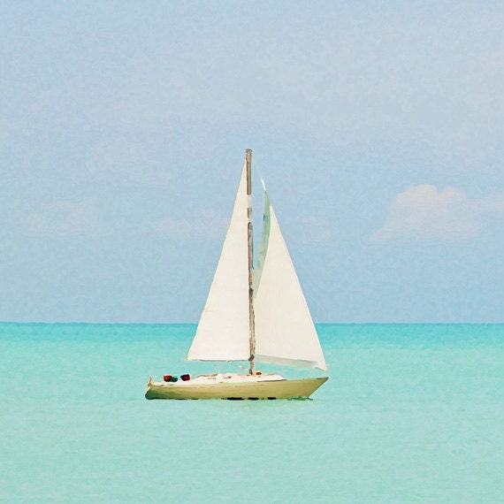 Items Similar To Sailboat Nursery Art Print Beach Blue