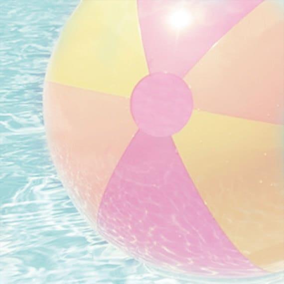 Beach Ball Art Print - Pink Yellow Orange Aqua Pool Wall Art Children Kid Room Wall Art Summer Photograph