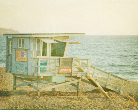 Vintage Lifeguard Station Beach Art Print - Blue Aqua Green Beach House Wall Art Home Decor Photograph
