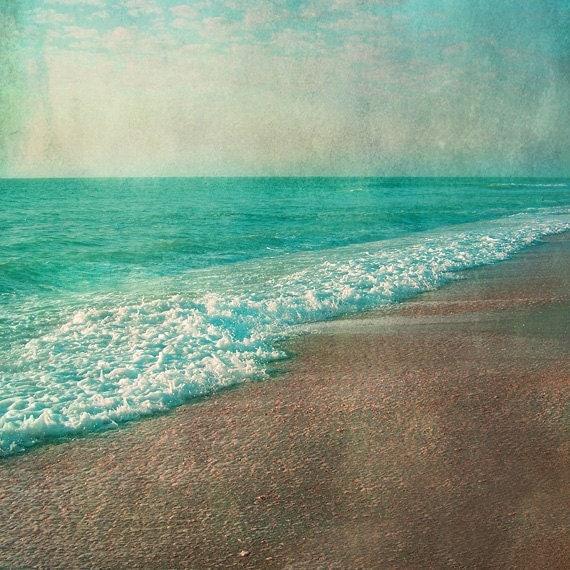Vintage beach art print aqua tan beach house wall art for Beach house prints