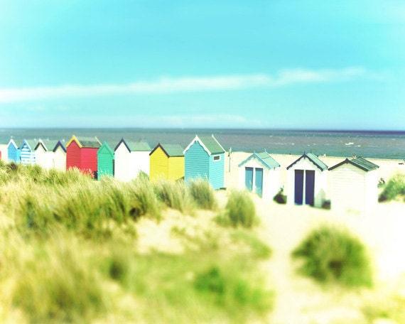Beach cabana art print aqua green colorful ocean beach house for Beach house prints