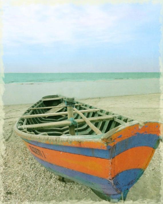 Boat blue orange beach art print aqua ocean beach house home for Beach house prints