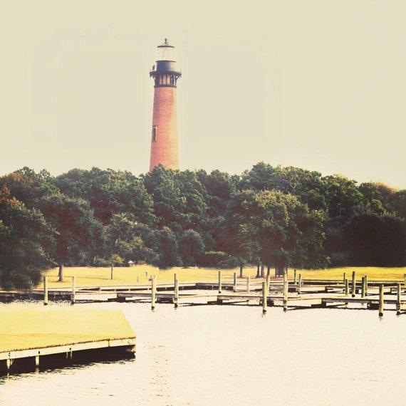 Currituck Beach Lighthouse Photograph - Outer Banks North Carolina Beach - Green Nautical Dreamy Vintage Ocean Art Print - 8x8 Photo