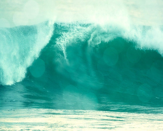Beach Wave Art Print - Aqua White Bokeh Beach House Wall Art Home Decor Surfing Photograph
