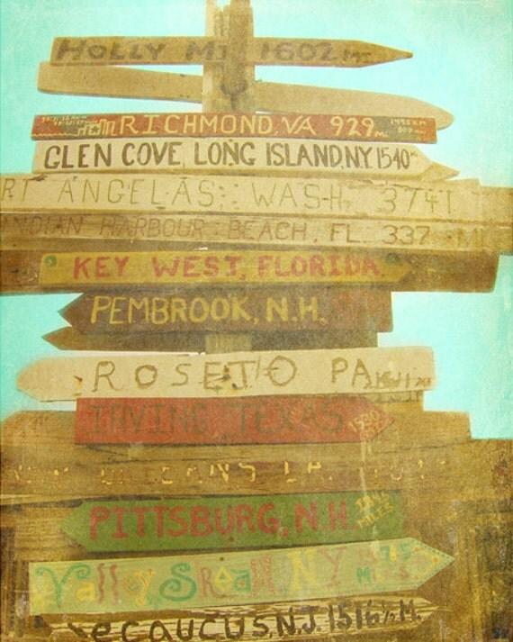Key West Florida Beach Sign Art Print Vintage Beach Brown