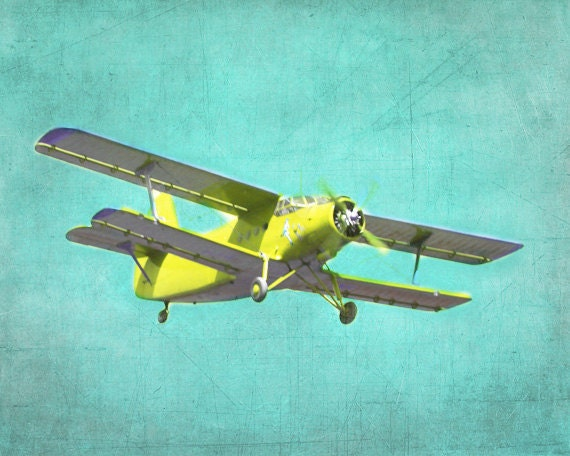 Vintage Airplane Art Print - Nursery Biplane Aqua Yellow Boy Room Aviation Flying Wall Art Home Decor Plane Photograph