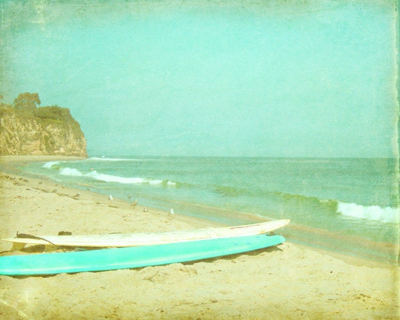 Vintage surfboards beach art print blue green aqua sand for Vintage ocean decor