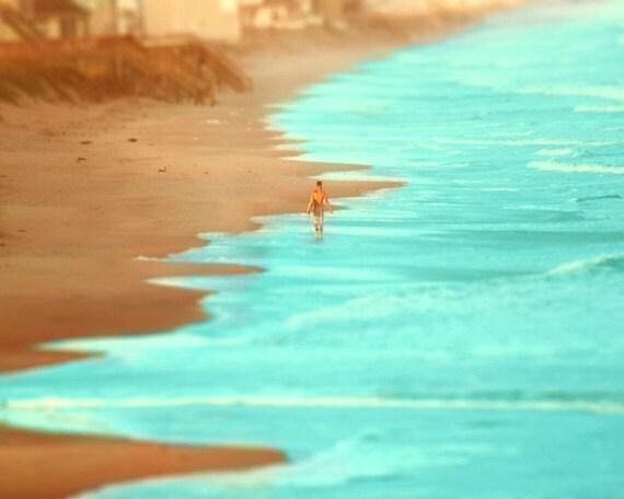 Surf Tilt Shift Art Print - Aqua Tan Surfer Beach House Home Decor Ocean Surfing Wall Art Miniature Photograph