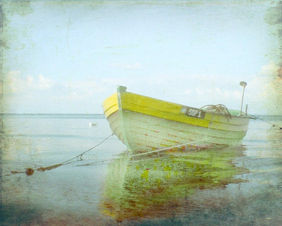Vintage yellow boat beach print home decor wall art nautical for Beach house prints
