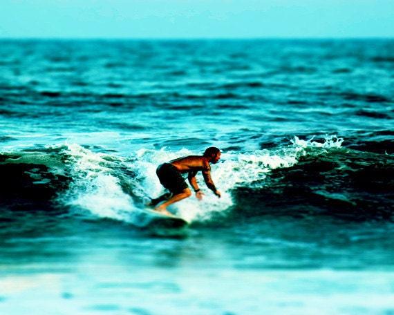 Surf Art Print - Beach Surfer Aqua Retro Vintage Beach House Decor Wall Art Ocean Photograph