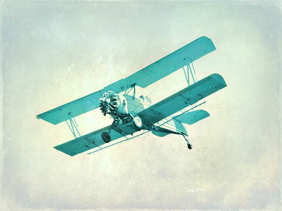 Vintage Airplane Nursery Print Blue Aqua Plane Nursery