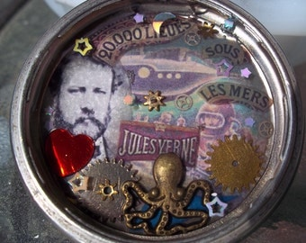 Jules Verne 20,000 Leagues Under The Sea Steampunk Pendant Necklace in a Pocket Watch Case-Price Reduced-Free Shippin!