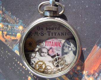 Titanic Commemorative Steampunk Antique Pocket Watch Necklace
