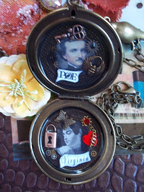 Edgar Allan Poe and Virginia Poe Love Locket Collage Art With Raven, Tell-Tale Heart, Gold Bug, Pocket Watch Parts