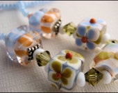 Necklace, Beaded, Orange, White, Blue, Green, Lampwork, Seed Beads, For her, Preppy,Casual