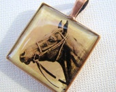 Resin Pendant, Horse, Country, Western, Rustic, Brown, Black, Beige, 1 Inch, Square