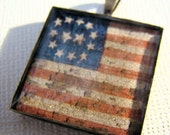 Resin Pendant, Rustic American Flag, Red, White, Blue, 1 Inch, Square, Unisex, Patriotic