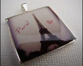 Resin Pendant, Paris Love, Black, Pink, Eiffel Tower, 1 inch, Square, For her, Romantic