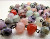 Necklace, Multicolored, Agate, Faceted, Red, Green, Black, Blue, Pink, For her