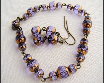 Jewelry Set, Bracelet with Matching Earrings in Purple and Bronze