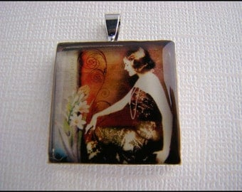 Resin Pendant, Sitting Woman, For Her, Avant-Garde, Burnt Orange, Brown, Beige, Black, 1 inch, Square, Necklace