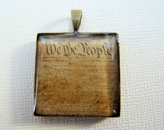 Resin Pendant, We the People, Black, Beige, 1 Inch, Square, Unisex, Patriotic