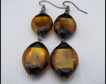Earrings, Gold and Black Foil Beads, Dangle, For Her