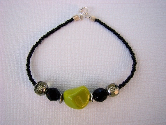Beaded Bracelet, Lime Green, Black, Seed Beads, Glass Beads, Hip Hop, Boho, Casual, For her