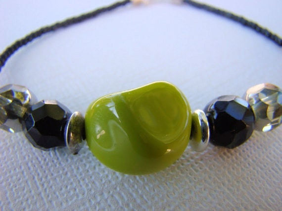 Beaded Bracelet, Lime Green, Black, Seed Beads, Glass Beads, Hip Hop, Boho, Casual, For her