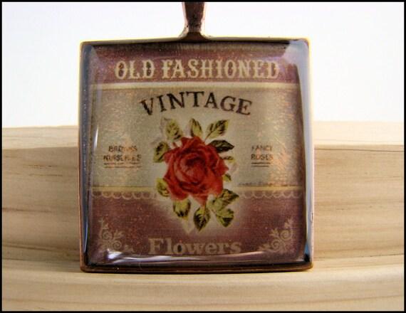 Resin Pendant, Vintage Ad, Roses