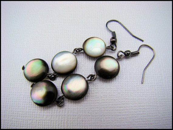Earrings, Dangle with Black Shell Disks, White, For Her