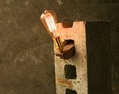 Wood Lamp DIY Cinderblock Lamp Industrial Light Cool Gifts For Men Lighting Edison Bulb Lamp - Acacia Wood and Marconi Filament Bulb