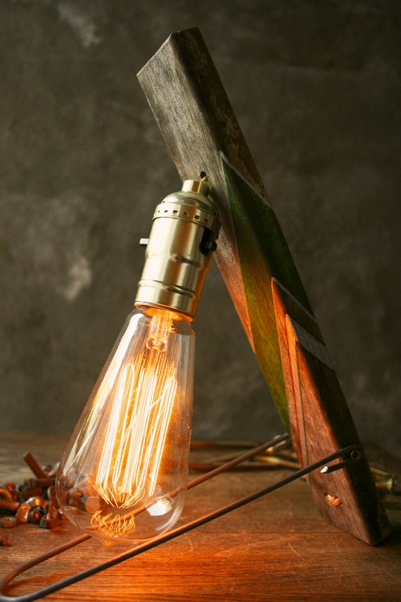 Custom Industrial Light Wood Lamp Custom Striped Industrial Edison Bulb Lamp Gifts for Men - Weathered Wood and Marconi Filament Bulb