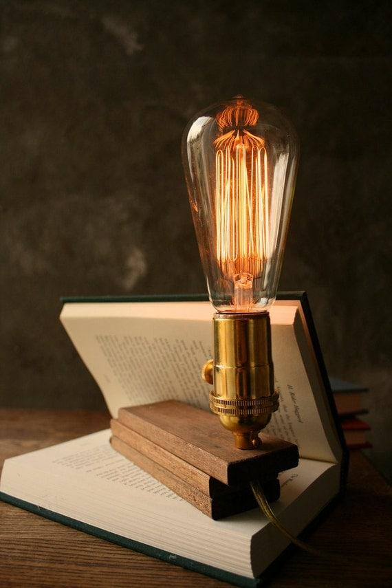Items Similar To Wood Lamp Diy Book Lamp Industrial Light