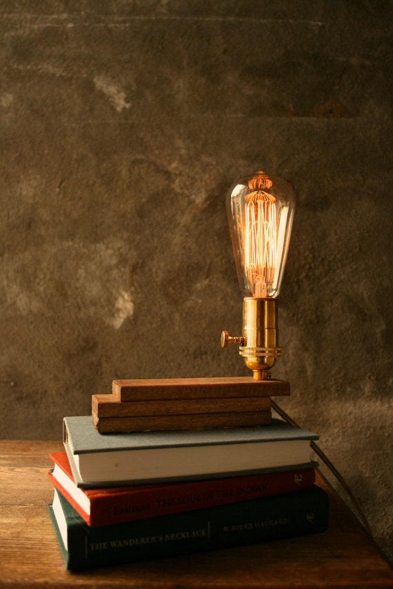 Wood Lamp Diy Book Lamp Industrial Light Shabby Chic Cool